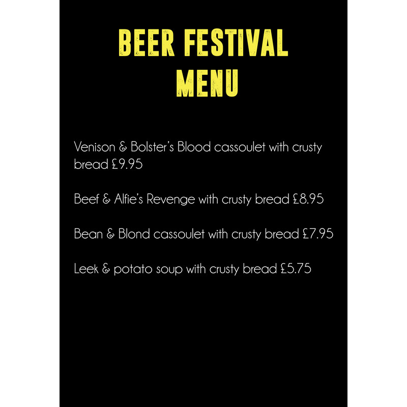 Beer Festival of Two Halves - Menu